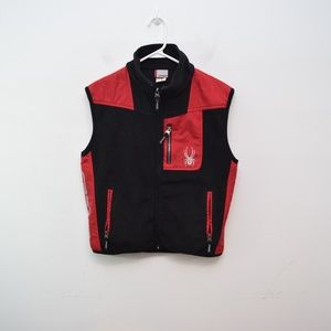 Spyder Boys Fleece Vest, 16 Black Red